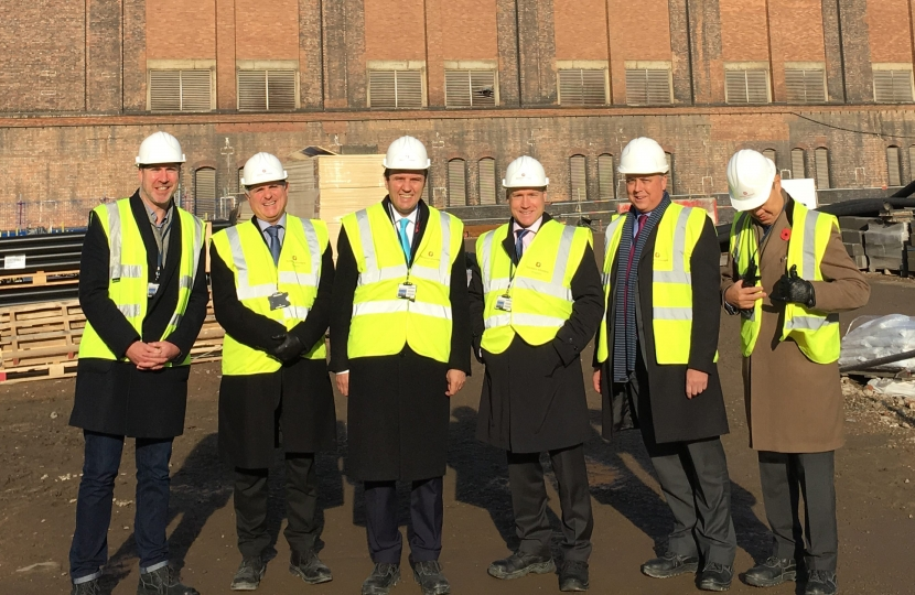 Greg Hands MP touring the site at the Chelsea Riverside development, better known as the Lots Road power station.