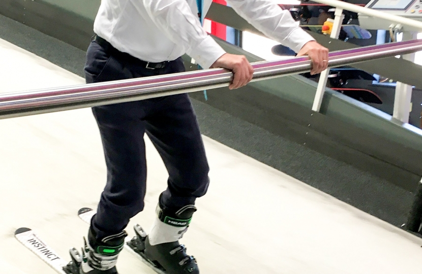 Greg Hands MP at Chel-Ski in Fulham, London's leading indoor ski training centre, trying it out for himself!