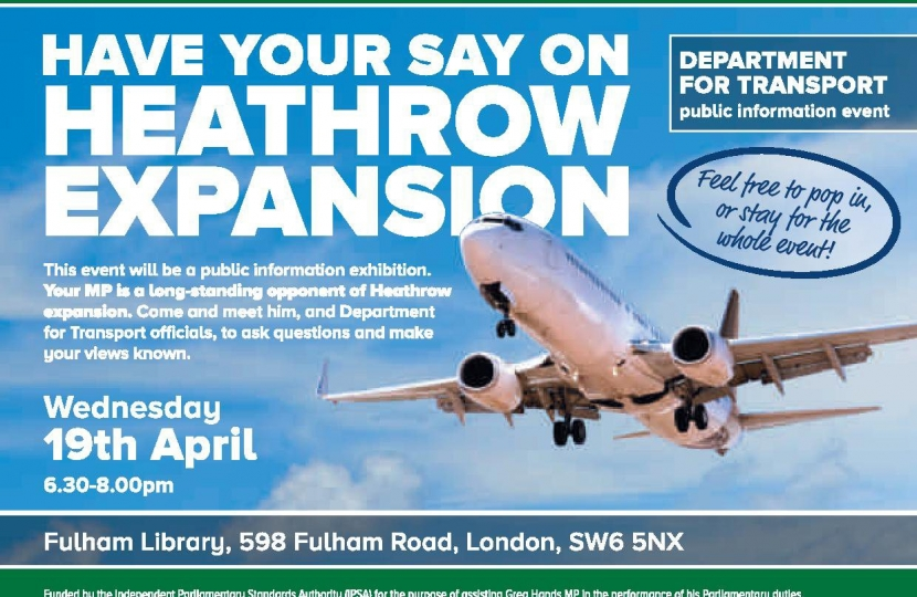 Greg Hands Announces Heathrow Expansion Consultation Event in Chelsea & Fulham