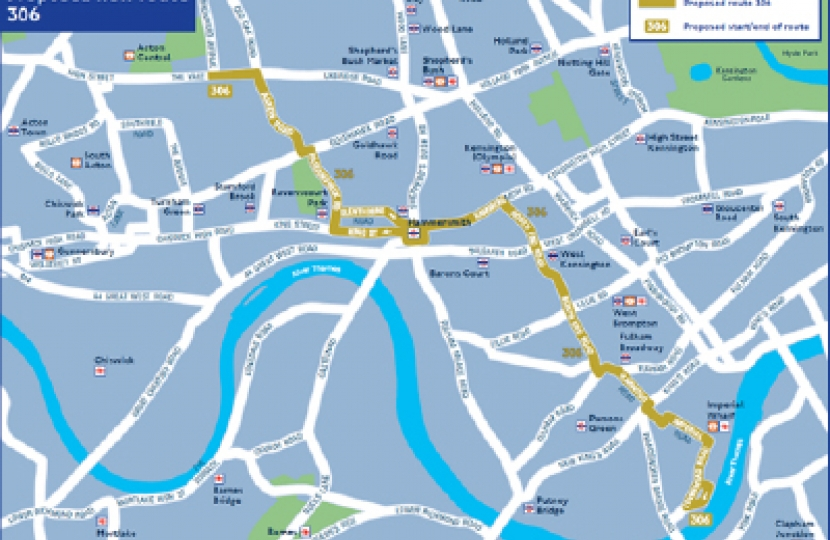 TfL's proposed new route for the 306.