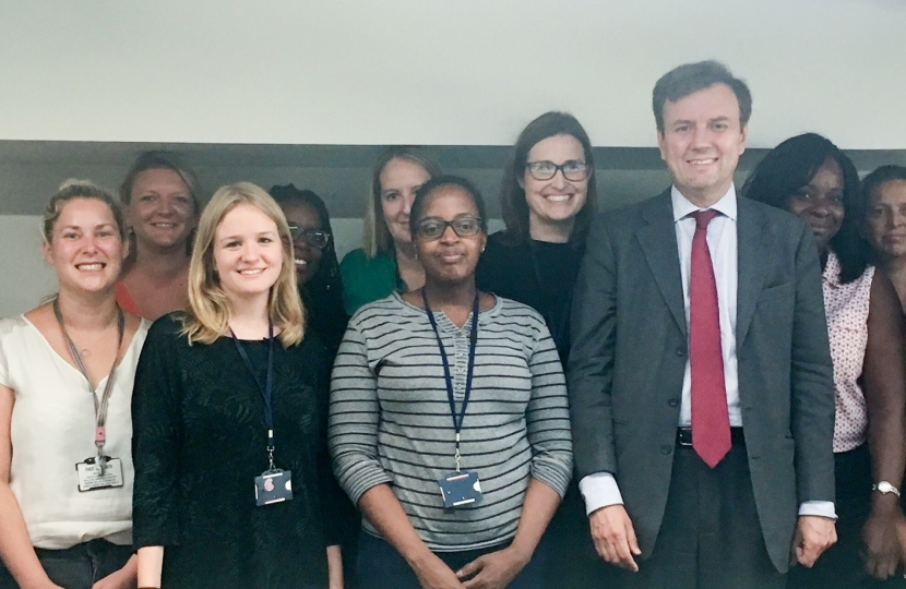 Greg Hands MP visiting hard-working Royal Borough of Kensington & Chelsea social workers at the Malton Road centre, last week.