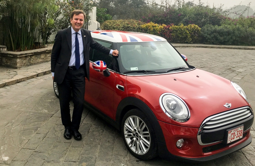 Greg Hands with Union Flag branded Mini in Lima last week, promoting U.K. Exports.