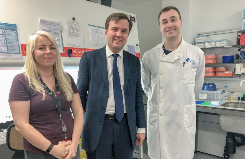 Greg Hands MP visiting the world-leading HIV/AIDS research facility at Chelsea & Westminster Hospital.