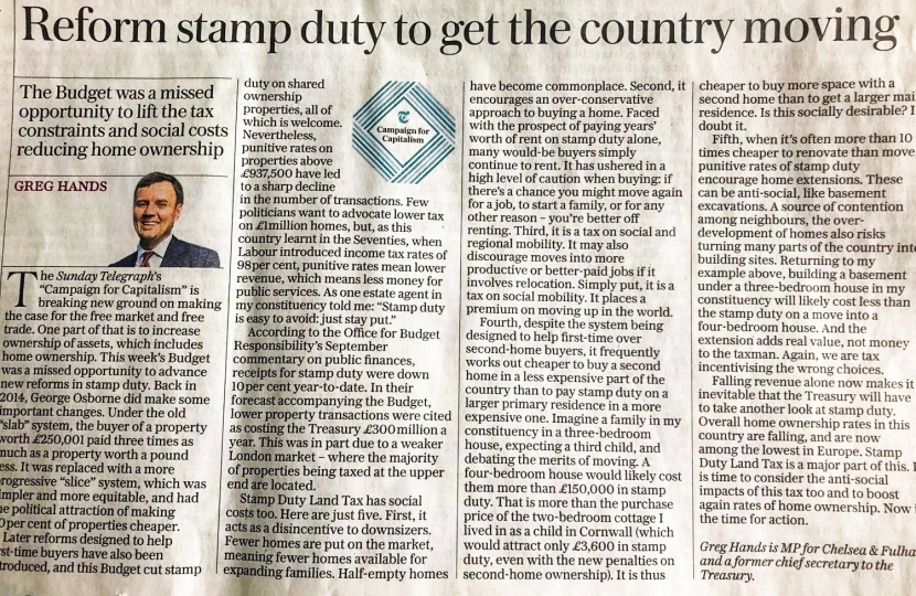 Reform stamp duty to get the country moving again