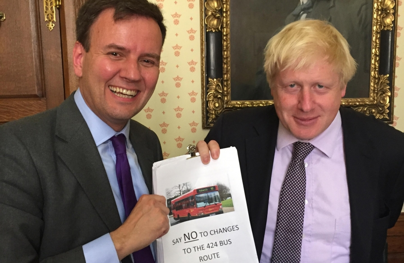 Greg Hands and Boris Johnson with the 424 bus petition