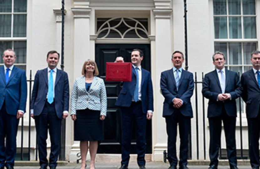 Greg Hands MP with the Chancellor of the Exchequer and other members of the Trea