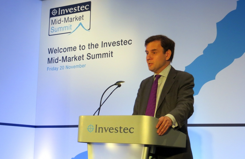 Greg Hands MP addressing the Investec Mid-Market Summit