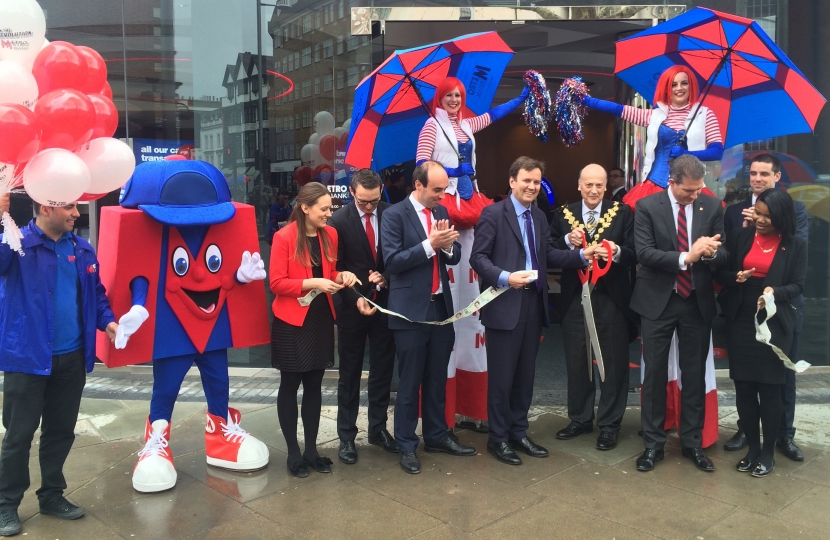 Greg Hands MP At the opening of Metro Bank, Kings Road, Chelsea.