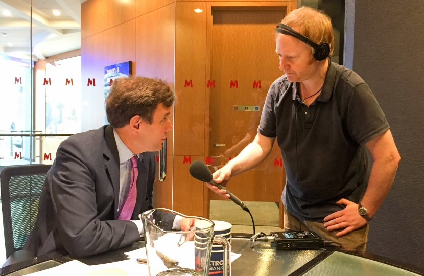 "Greg Hands MP being interviewed by BBC Radio 4's ""The World This Weekend"" at his"