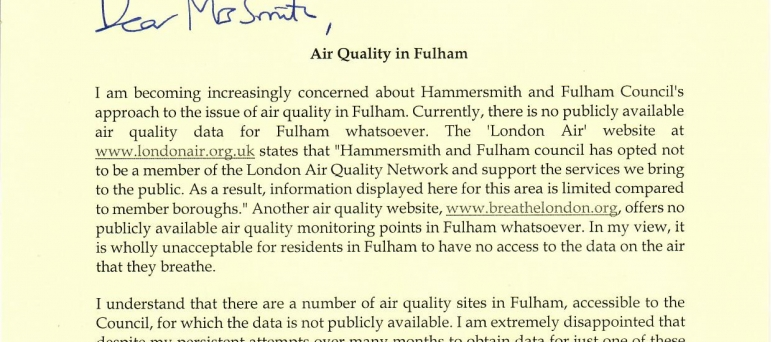 Air Quality in Fulham 1